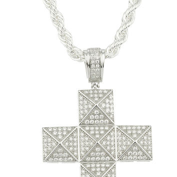 925 Sterling Silver Cubic Zirconia Stone Symmetrical Cross Pendant with a 24 Inch Brass Rope Chain Necklace