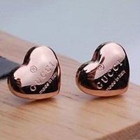 GUCCI Fashion New Love Heart-Shaped Earring Accessories Women Rose Gold