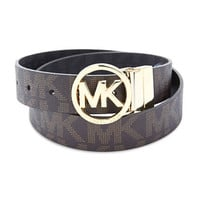 Michael Michael Kors Leather Belt with Gold Buckle