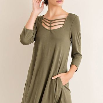 Steal Your Attention Olive Green Cutout Swing Dress
