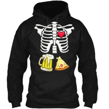 Beer and pizza Pregnant Skeleton Halloween  Pullover Hoodie 8 oz