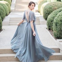 MACloth V Back Cap Sleeves Chiffon Long Bridesmaid Dress Gray Formal Gown