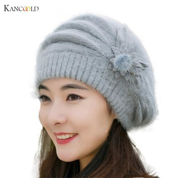 New Fashion Womens Flower Knit Crochet Beanie Hat Winter Warm Cap Beret Casquette Femme Se29GBY