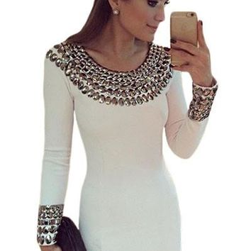 Chicloth Sexy Round Neck Long Sleeve Bodycon Studded Dress