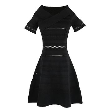 EHMAXRTH Brand Luxury 2018 Europe Casual Women Hollow Out Vestido Top Design Good Elastic Black Short Sleeves Dress Femme E8687
