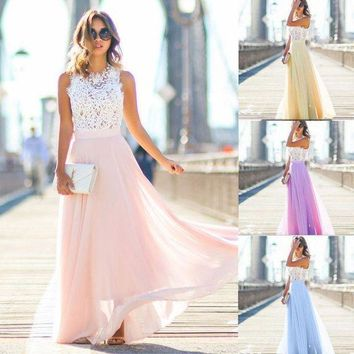 ESBONC. New 2017 Summer  Women Long Lace Chiffon Evening Formal Party Ball Gown Prom Brides Maxi Dress Boho Casual Woman Clothes