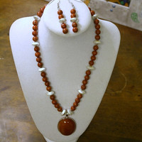 Red jasper and red agate set of necklace and earrings