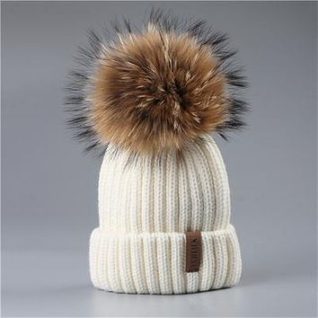 Pom Pom Fur Winter Beanie Hat for Girls