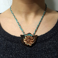 Ceramic Necklace - Moon Shaped Ceramic With Blue Natural Stone - Handmade Bird Pattern - Cotton Yarn -