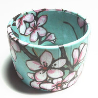Water Color Cherry Blossoms Bangle Bracelets