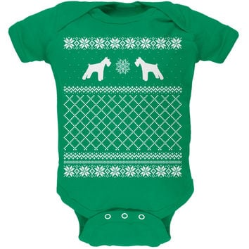 Schnauzer Ugly Christmas Sweater Kelly Green Soft Baby One Piece