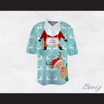 Santa Claus and Reindeer Ugly Christmas Sweater Print Light Blue Football Jersey