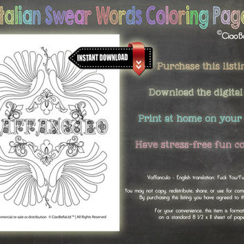Italian Swear Words Adult Coloring Page - Vaffanculo