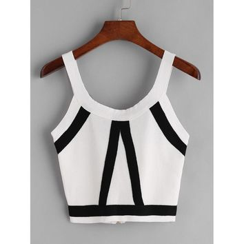 Striped Zipper Back Knit Crop Tank Top