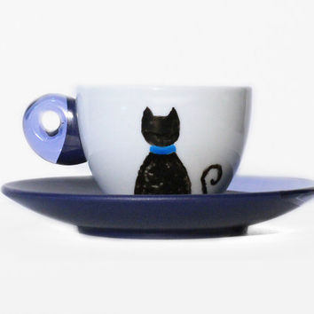 Cat Cup, Cat Coffee Cup, Cup and Saucer, Espresso Cup, Cat Lover Gift, Crazy Cat Lady Gift, Porcelain Cup, Cat Pottery, Cat Home Decor