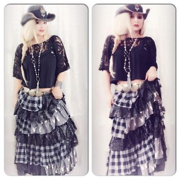 Flannel stag ruffle maxi skirt, boho chic, country living looks, True Rebel Clothing