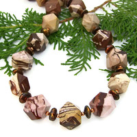 Brown Zebra Jasper And Pearls Chunky Necklace, Handmade Gemstone Copper Statement Jewelry for Women