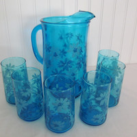 Blue Glass Pitcher and Six Glasses with Embossed Flowers