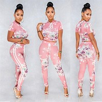 Summer Fashion Short Sleeve Crop Top Fashion Suit Women Clothing 2 Piece Set Floral Tops+Pants Female Outfits