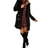 Sale-black Belted Wool Faux Leather Coat