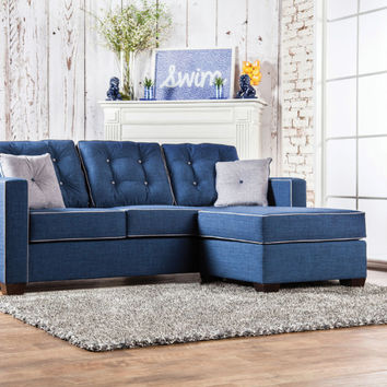 Furniture of america SM8852 2 pc ravel II blue fabric sectional sofa set with square arms