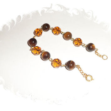 Gold Topaz and Tiger-eye Bracelet