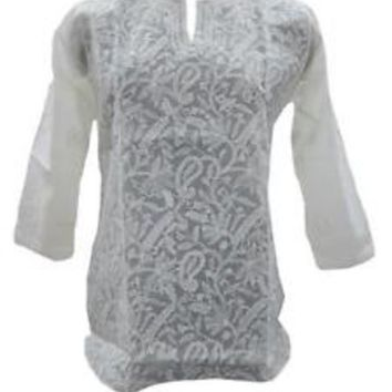 Sheer Gauzy Cotton Tunic Top Yoga Embroidered Womans Blouse S