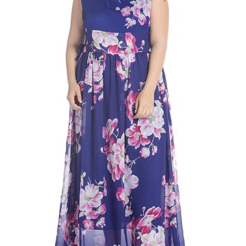 Streetstyle  Casual Delightful Round Neck Chiffon Plus Size Maxi Dress In Floral Printed