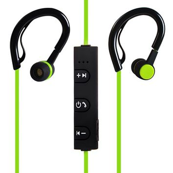 Wireless Bluetooth Headphones No Prompt Voice Headset Light Weight Sport Stereo Earphone Latest V4.1 for iPhone Samsung Android Smartphone Green