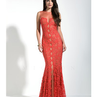 Mignon VM1450 Red Sheer Lace Gown Prom 2015