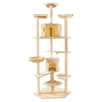 "80"" Cat Climb Tree Cat Tower Condo Cat Scratching Posts Solid Sisal Rope Plush Cat Furniture for Kittens Activity - US Stock"