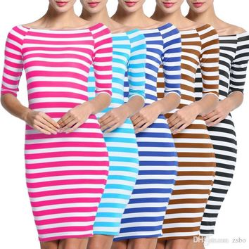 """""""Nora"""" Striped Off Shoulder 3/4 Sleeve Knee Length Casual Pencil Dress"""