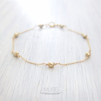 Metallic Gold Satellite Bracelet - Beaded Bracelet, 14k Gold Filled, Dainty Gold Bracelet, Simple Jewelry, Minimal Bracelet, Bridesmaid Gift