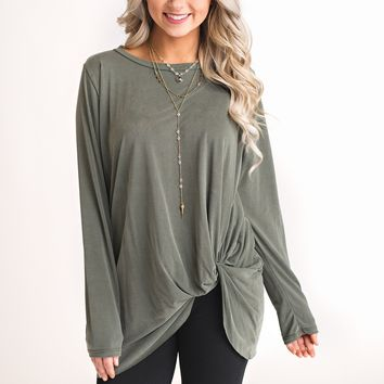 Beckham Knotted Top (Olive)