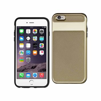 New Hybrid Solid Armor Bumper Case In Gold For iPhone 6S Plus By Reiko