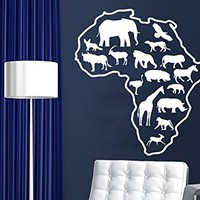 African Safari Wall Decal African Map Vinyl Stickers Animals Housewares Art Interior Nursery Bedroom Removable Home Decor NS979