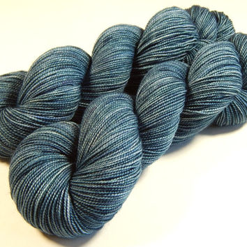 Hand Dyed Yarn - Sock Weight Superwash Merino Wool Yarn - Denim - Knitting Crochet Craft Supplies