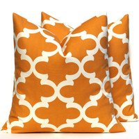 Fall Pillows Fall Decor Thanksgiving Decor Orange Throw Pillow Covers 16x16 TWO Orange Pillow Printed Fabric both sides Cushion Covers