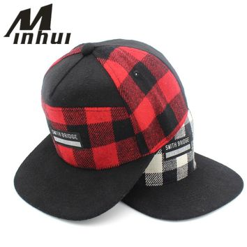 Trendy Winter Jacket Minhui Plaid Snapback Men Women Baseball Caps Casquette Letters Gorras Planas Flat Hat for Men AT_92_12