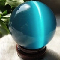 ASIAN QUARTZ BLUE CAT EYE CRYSTAL BALL SPHERE 40MM with STAND