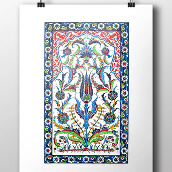 Ottoman Mosque Art Watercolor Print Turkish Digital Print Carnation Wall Art Traditional Wall Decor Wall Hanging