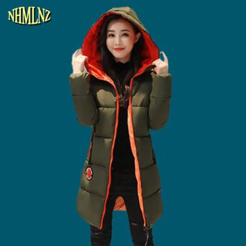 Winter Jacket 2017 New Fashion Warm Women Cotton Overcoat Plus size Solid color Thick Long sleeve Hooded Women Coat M-3XL WK204