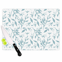 "Zara Martina Mansen ""Leafy Silhouettes"" White Blue Painting Cutting Board"