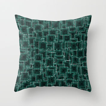 The Maze - Teal Throw Pillow by Alice Gosling