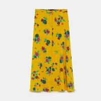 PRINTED MIDI SKIRT WITH FRONT BUTTONSDETAILS