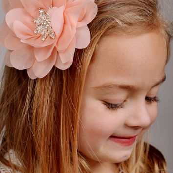 Pink, Pink Hair Clip, Blush Coral pink flowers, Hair clip, Hair Bow, Bridesmaids accessories, Weddings, Flower girls, Vintage style, Gift