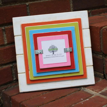 Picture Frame - Holds a 3x3 Photo - Distressed Wood - Multi Colors
