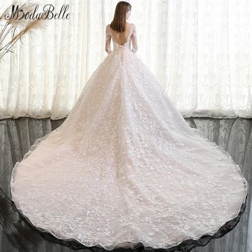 modabelle 2018 Vintage Wedding Dress Lace Sleeve Dubai Online Shopping Handmade Applique Long Tail Ivory Luxury Bridal Dress