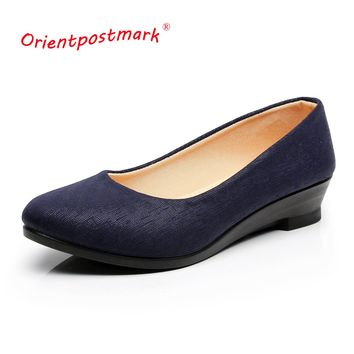Women Ballet Shoes Women Wedges Shoes for Office Work Cloth Sweet Loafers Women's Pregnant Wedges  Shoes Oversize Boat Shoes