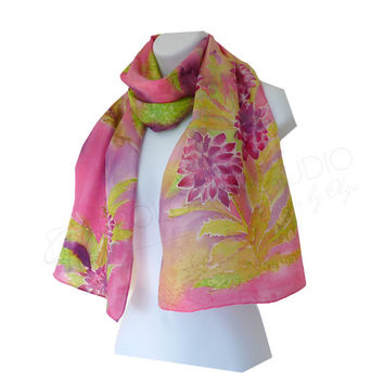 Dahlia Garden Hand Pinted Silk Scarf in Bright Pink Purple Green. Scarf 15x58 inches. Ready to ship.